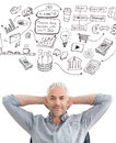 Composite image of relaxed mature businessman with hands behind head against brainstorm graphic Royalty Free Stock Photos