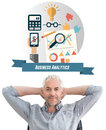 Composite image of relaxed mature businessman with hands behind head against business analytics graphic Royalty Free Stock Photography