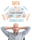 Composite image of relaxed mature businessman with hands behind head against cloud computing Stock Images