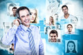Composite image of smiling businessman using headset Royalty Free Stock Photo