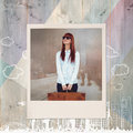 Composite image of smiling hipster woman holding suitcase Royalty Free Stock Photo