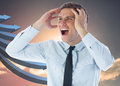 Composite image of stressed businessman shouting Royalty Free Stock Image
