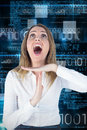 Composite image of stressed businesswoman asking for timeout against blue technology design with binary code Stock Photos