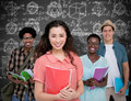 Composite image of stylish students smiling at camera together Royalty Free Stock Photo