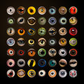 Composition of animal eyes in cercle on brown background Stock Photography