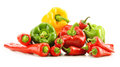 Composition with assorted peppers on white background Stock Images