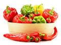 Composition with assorted peppers on white background Stock Photos