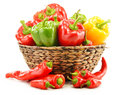 Composition with assorted peppers on white background Stock Image