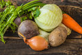 stock image of  Composition with assorted raw vegetables on the wooden background