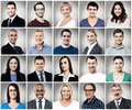 Composition of attractively smiling people Royalty Free Stock Photo