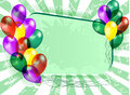 Composition of balloons purple red green and yellow on a green background Stock Photos