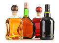 Composition with bottles of assorted alcoholic products  Royalty Free Stock Photo