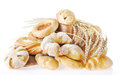 Composition with bread and buns on light backgroun Stock Photography