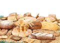Composition of bread and space for text white background Stock Photography