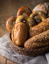 Composition of bread on wooden table Royalty Free Stock Photos