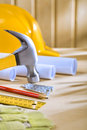 Composition of carpentry tools on woden table Stock Images