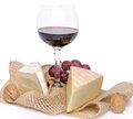Composition of cheeses and wine isolated on white Royalty Free Stock Photos