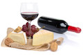 Composition of cheeses and wine isolated on white Stock Photos