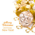Composition with christmas ball in golden tones isolated on whi white background Stock Photos