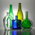 Composition from color glass bottles Royalty Free Stock Photo