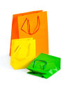 Composition of colored paper bags Stock Photos