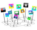 The composition consists of a set of web icons in the form of transparencies and posters on a white background Stock Photos