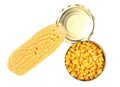 Composition of corn cop and canned isolated on a white background Stock Images