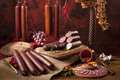 A composition of different sorts of sausages Royalty Free Stock Photo