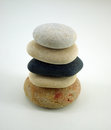 Composition with five zen stones on white Royalty Free Stock Image