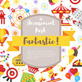 Composition for flyer with amusement park fun icons. Royalty Free Stock Photo
