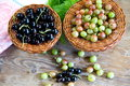 Composition of fresh berries of a black currant and gooseberry, on wood surfaces Royalty Free Stock Photo