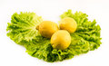Composition of fresh and cut lemons on salad on white background Royalty Free Stock Photo