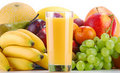 Composition with fruits and glass of orange juice Royalty Free Stock Image
