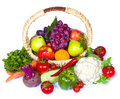 Composition of fruits and vegetables in wicker basket Royalty Free Stock Photo