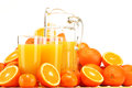 Composition with glasses of orange juice and fruits Stock Photography