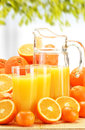 Composition with glasses of orange juice and fruits Royalty Free Stock Images