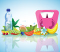 Composition of healthy food and weights vegetables fruits flowers eps highly detailed illustration Stock Photos