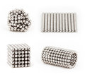Composition from magnetic metal balls, from chaos to ideal shape Royalty Free Stock Photo