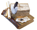 Composition of old book aged letters and writing implements isolated Royalty Free Stock Photo