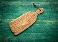 Composition with olive wood board on top of oak Royalty Free Stock Photo