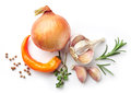 Composition of onions and spices Royalty Free Stock Photo