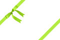 Composition for packaging with classic green ribbon bow isolated on white Stock Photography