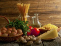 Composition of pasta, vegetables and cheese. Royalty Free Stock Photo