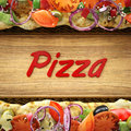 Composition for pizza d illustration ingredient vegetables composed around letters Royalty Free Stock Photos