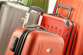 Composition with plastic suitcases polycarbonate Stock Photography