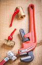 Composition of plumbers items Royalty Free Stock Photo