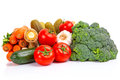 Composition raw vegetables isolated white Stock Photo
