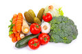 Composition raw vegetables isolated white Stock Image