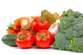 Composition raw vegetables isolated white Stock Photography