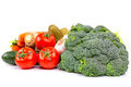 Composition raw vegetables isolated white Stock Photos